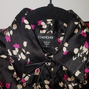 Bebe Silk Button Down Blouse